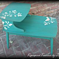shabby chic end table, distressed turquoise side table, stenciled  accent table, bird stencil  table, distressed accent table, nighstand