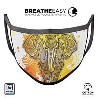 Bright Orange Ethnic Elephant - Made in USA Mouth Cover Unisex Anti-Dust Cotton Blend Reusable & Washable Face Mask with Adjustable Sizing for Adult or Child