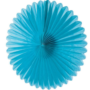 Small Turquoise Blue Hanging Paper Fan