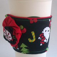 Hello Kitty Coffee Cup Cozy / Christmas Drink Sleeve / Candy Canes / Peppermint Swirl Candy / Holidays / Christmas Trees / Santa Hat
