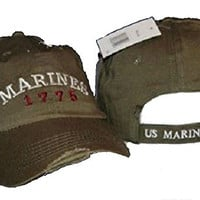 Blue Washed EGA Marines Marine USMC Distressed ball cap hat