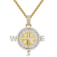Custom Navigation Compass Silver Bling Pendant Chain