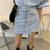【Final Sale】Street Style Distressed Denim Skirts