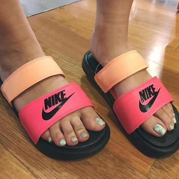 NIKE Casual Fashion Solid Color Flats Slipper Sandals Shoes-9
