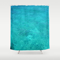 """Shower Curtain - 'Clear Turquoise Water' - 71"""" by 74"""" Home, Decor, Bathroom, Bath, Dorm, Girl, Christmas, Gift, Ocean, Turquoise"""