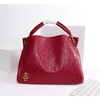 LV Louis Vuitton vintage embossed letters ladies large-capacity shopping shoulder bag handbag Red