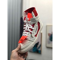 OF OFF-WHITE OFF WHITE Women's Leather Fashion High Top Sneakers Shoes