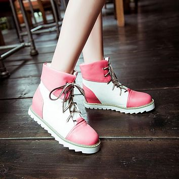 Women Ankle Boots Lace Up Mixed Colors Platform Shoes Woman 2016 3521