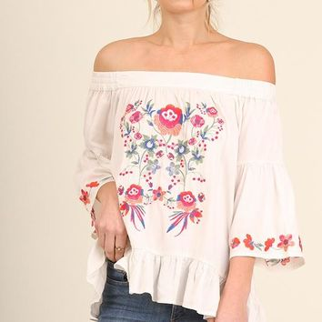 Cream Off Shoulder Embroidered Top