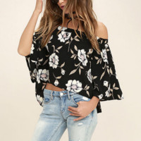 Fashion sexy off shoulder print flower T-shirt BLACK