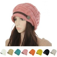 2015 Women Winter Knitted Beanies New Fashion Women's Hats Warm Black Lady's Caps  Acrylic Woman's Headwear Hat For Female
