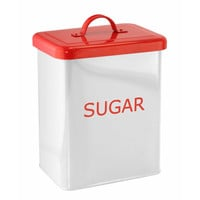 White/red Kitchen Canister -sugar