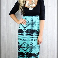 Queen of the tribe aztec maxi dress in MINT - Filly Flair