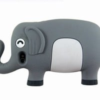 New Cute 3D Long Nose Elephant Silicone Case Cover Skin for iPhone 4 4S Gray
