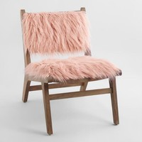 Blush Faux Flokati Gunnar Chair