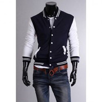 Navy Blue and White Button Down Long Sleeves Shirt