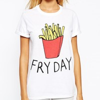 Adolescent Clothing Boyfriend T-Shirt With Fry Day Print