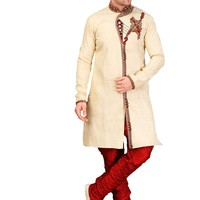 Royal Look Cream Jacquard Silk Indian Wedding Sherwani For Men Buy Only