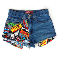 Levis Vintage High Waisted Jean Shorts Cut off Denim Super Hero Marvel Comics Patched Shorts