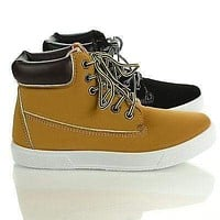 Rocsi03 By Wild Diva, Work Boot Lace Up Flat Fashion Sneaker