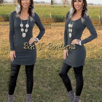 First Impression Fitted Tunic Dress ~ Charcoal