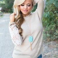 Filled With Goodness Lace Sweater Top
