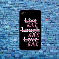 Funny Live Love Laugh Case Cute Food Rubber Phone Cover iPhone Eat Cool Black