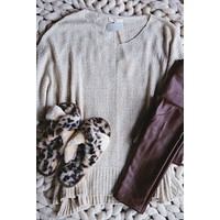 Nadia Lightweight Sweater, Oatmeal   Extended Sizes Available