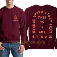pablo sweatshirt album yeezus west sweatshirts gsm ultra light beam tlop feel like unisex sweatshirts