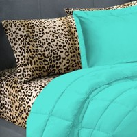 5 Piece Turquoise Leopard Twin Extra Long Bedding Set:Amazon:Home & Kitchen