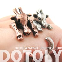 Large Giraffe Animal Wrap Around Ring in Copper - Sizes 4 to 9 Available