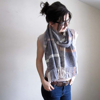 Handwoven Scarf, Cotton, Multi Color Stripes, Fringe Shawl, Navy Stripe, Spring Scarf, Mothers Day Gift, Cotton Wrap
