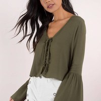 Fall For You Lace Up Crop Top