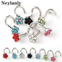 1PC Hot Sell Nose Piercing Indian style Crystal Rhinestone Nose Ring Bone Stud 316l Surgical Steel Body Piercing Jewelry N0020