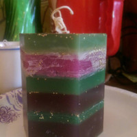 Soy evergreen / mulberry scented glittery hex candle