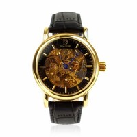 ZLYC Men Transparent Dial Steampunk Automatic Mechanical Pu Leather Wrist Watch Black