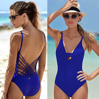 Blue Sexy cut out one piece swimwear swimsuit bathing suit for women hollow out monokini bodysuit woman swim clothing