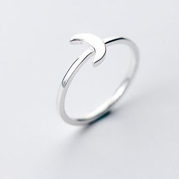 (Thin &Small ) REAL.925 Sterling Silver Fine Jewelry Crescent Moon Thin Ring lady's child GTLJ1253