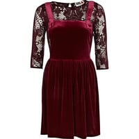 River Island Womens Dark red Chelsea Girl velvet pinafore dress