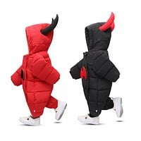 2018 Baby Outwear Boy Boy Girl Thick Warm Duck Down Winter Snow Wear Baby Cute Hooded Clothes Suit Animal Style
