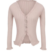 Spring trim style wooden ear lace knit long-sleeved button-down cardigan jacket