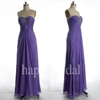 Long Purple Beaded Prom Dresses Lovely Sweetheart Party Dresses Homecoming Dresses Bridesmaid Dresses 2014 New Fashion
