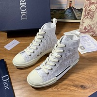 Dior Women's Oblique Canvas B23 Fashion High Top Sneakers Shoes