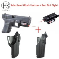 Good Quality Glock Pistol Waist Holster Light Bearing For Glock 17 19 22 23 31 32 + Mini Red Dot Laser Sight For 20mm Rail Gun