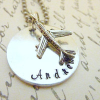 Personalized Airplane necklace Pilot Stewardess Plane keyring Hand stamped jewelry