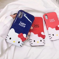 New kitty For iPhone X/ 8 plus Case smoothy hello kitty 2in1 cover for iPhone 7 plus case for iphone 6 6s plus Cute shell red