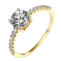 Solitaire Engagement Wedding Promise Ring 14k Gold Over Sterling Silver Bridal