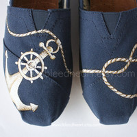 Custom Painted TOMS Shoes - Navy Anchor and Rope Heart - Youth