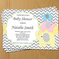Baby Shower Invitation Neutral Baby Shower Invites Baby Shower Invitations Yellow Pink Blue Editable File -FREE Thank You card (91) download