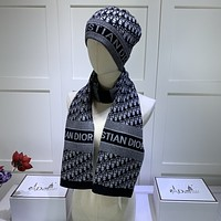 Dior women's fashion trend winter knit warm hat scarf suit scarf big scarf hat suit